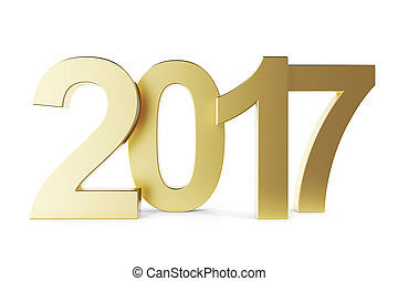 New 2017 year golden isolated on white background. 3D rendering.