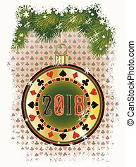 New 2018 year poker chip, greeting card, vector illustration