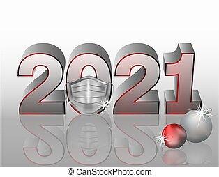 New 2021 Year with medical mask and xmas balls, vector ...