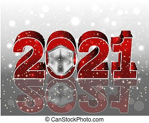 New 2021 Year with medical mask, vector illustration