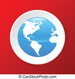 3d Globe icon - New 3d Globe icon On A Red Background