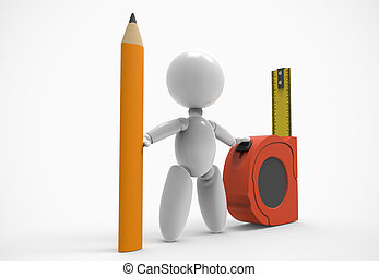 new 3D people-pencil,measuring tape