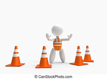 new 3D people - traffic cones
