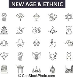 New age and ethnic line icons, signs, vector set, linear...