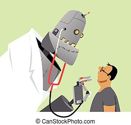 New age of medicine - Robot doctor examining a patient, EPS...