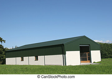 New Agricultural Barn - Newly constructed barn of cream...