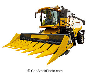 New agricultural harvester on a white background