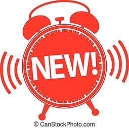 New alarm clock red icon, vector illustration