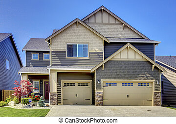 New American home exterior.