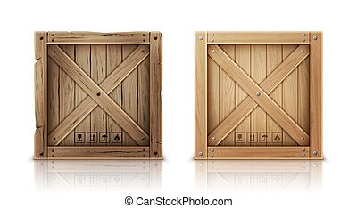 New and aged wooden crate realistic vector - Wooden box...