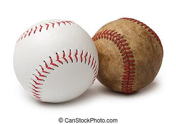 New and old baseballs
