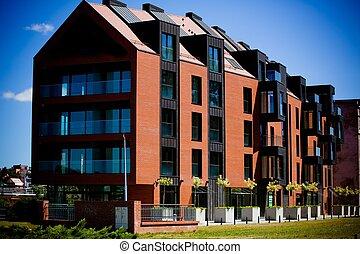 New apartament buildings in a row, Wroclaw, Poland