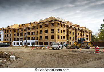 New apartment complex under construction in the suburbs