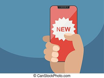 New app concept displayed on frameless touchscreen as vector illustration. Hand holding bezel free smartphone with new icon