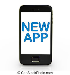 "Smartphone with blue text ""new app"". White background."