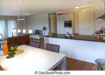 Interior of apartment designed in retro style