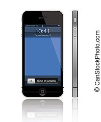 Detailed illustration of the new Apple iPhone 5 (released on 12 September 2012) with all corrected proportions.