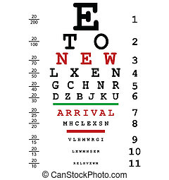 New arrival advertising with optical eye test used by...
