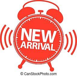 New arrival alarm clock icon, vector illustration