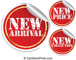 New arrival, new price and new collection stickers