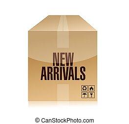 new arrivals box illustration design over a white background