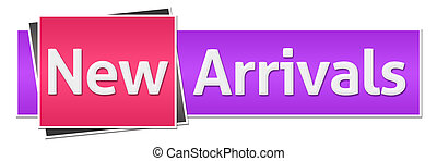 New arrivals text over pink purple background.