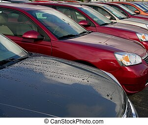 New automobiles in dealership lot