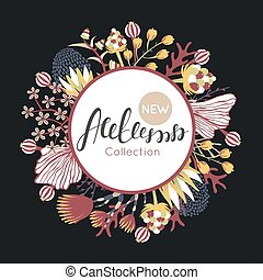 New autumn collection. Fall. Floral round frame. Hand drawn flowers around circle