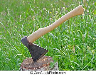 axe stuck in birch stump