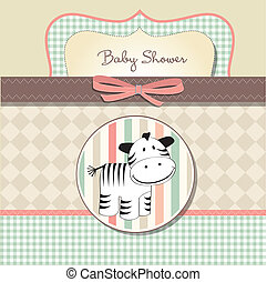 new baby arrived card with zebra