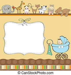 new baby boy announcement card with pram
