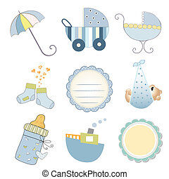 new baby boy items set isolated on white background, vector...