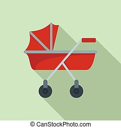 New baby carriage icon, flat style