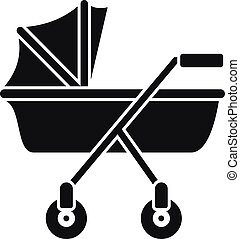 New baby carriage icon, simple style