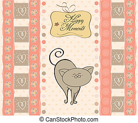 new baby girl shower card with cat
