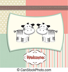 new baby twins arrived card with ze