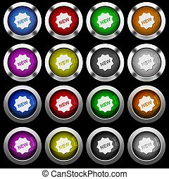 New badge white icons in round glossy buttons on black background