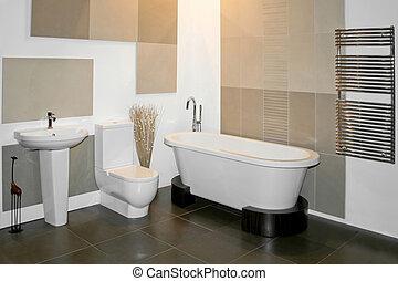 New bathroom - Big round bath and toilet in bathroom