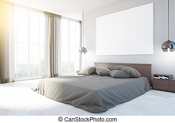 New bedroom interior with furniture, blank whiteboard, city...