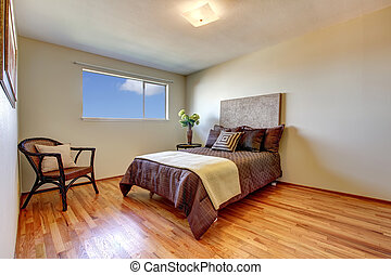 New bedroom with hardwood floor.