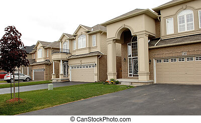 New big houses in a subdivision in Canada