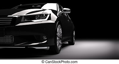 Modern new black metallic sedan car in spotlight. Generic contemporary desing, brandless. 3D rendering.