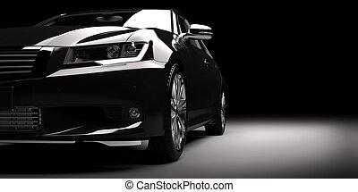 New black metallic sedan car in spotlight. Modern desing,...