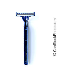 new blue blade razor on white background