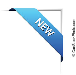 New blue corner business ribbon on white background.