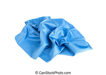 New blue microfiber cloth isolated on white background