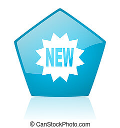 new blue pentagon web glossy icon