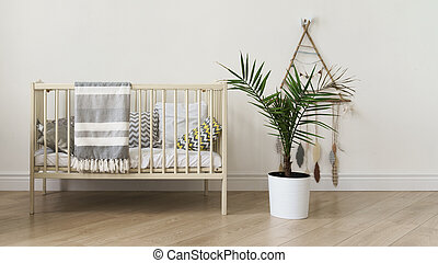 New born baby cot bed with gray blanketand indoor palm in a pot