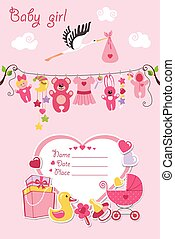 New born baby girl card shower invitation - New born Baby...