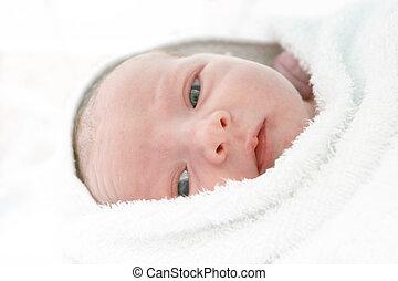 New born baby in incubator